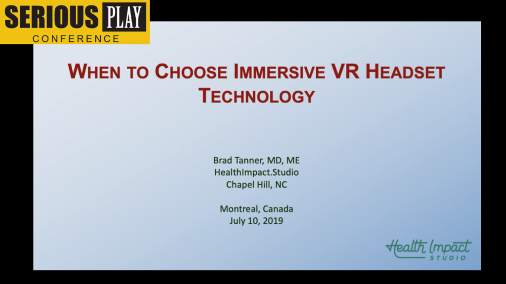 Immersive VR Headset to Understand Brain Activity:  Bradley Tanner, HealthImpact.studio Division