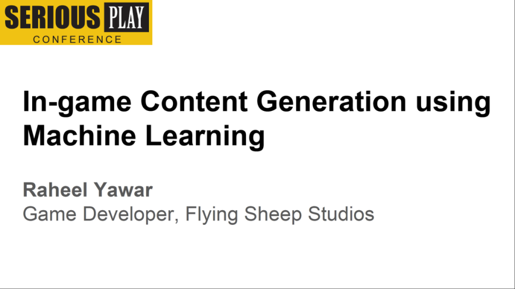 In-game Content Generation using Machine Learning:  Raheel Yawar, Flying Sheep Studios, Germany